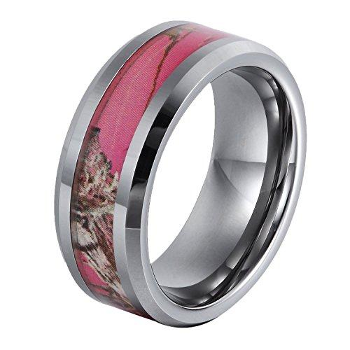 8mm Tungsten Ring Gift Camo Hunting Camouflage Pink Tree Women's Wedding Band, Size 6 to 14
