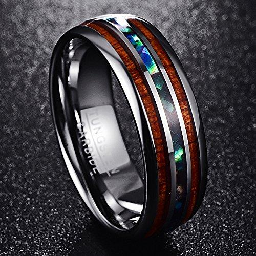 8 mm Hawaiian Koa Wood and Abalone Shell Tungsten Carbide Rings Wedding Bands for Men Comfort Fit Size 5 to 16
