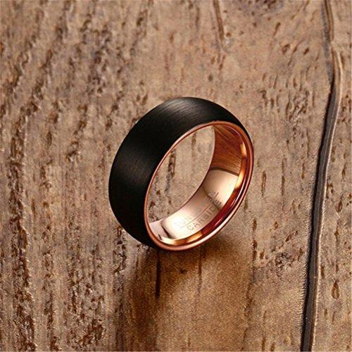 Men 8mm Tungsten Carbide Black Rose Gold Plated Two Tone Wedding Band Engagement Ring Matte Finish