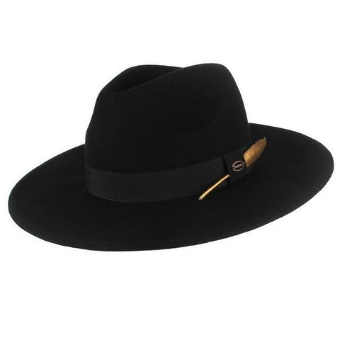 Brass Plume Wide Brimmed Felt Hat