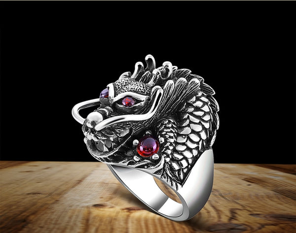 Men's Red-Eye Dragon Ring Solid Sterling 925 Hallmarked Silver Ring with  Zirconia