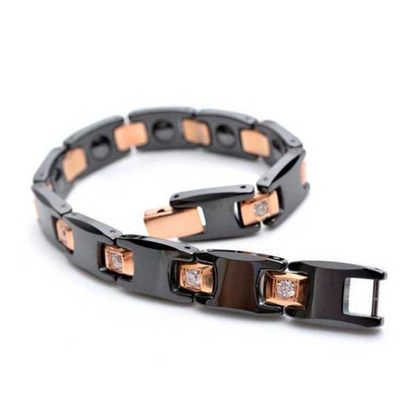 Rose Gold and Black Tungsten Carbide and Hematite magnetic bracelet