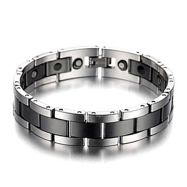 Tungsten Carbide and Hematite Men's Bracelet in black and silver