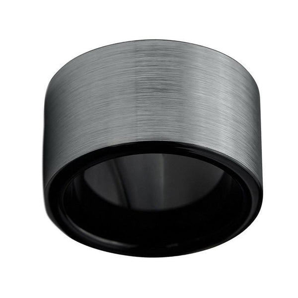 Black Silver Brushed Top Tungsten Carbide Ring