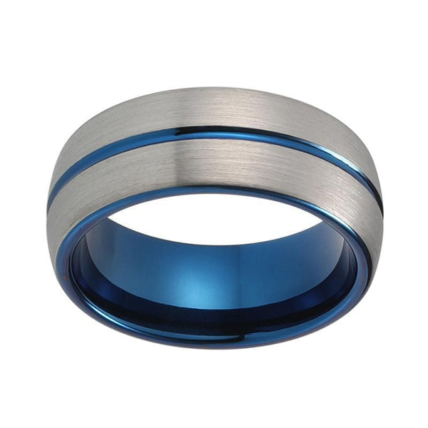 Two Tone Grooved Center Tungsten Carbide Ring