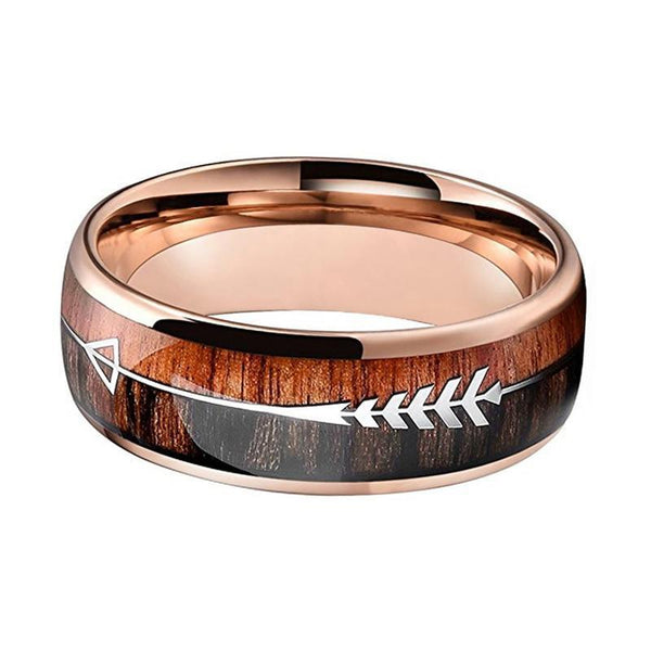 Arrow and Double Wood Inlay Tungsten Ring