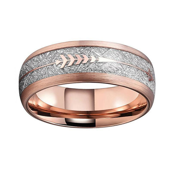 Rose Gold Arrow Inlay Tungsten Ring Unisex