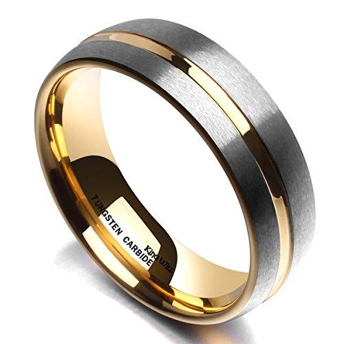 LOOP 7 mm Men Tungsten Carbide Ring 18K Gold Plated Thin Side Dome Wedding