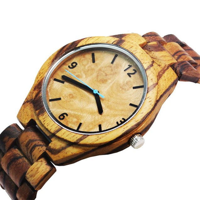 Black and Zebrawood Watch with Quartz Movement