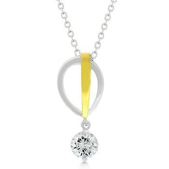 Two-tone Finish Raindrop Cubic Zirconia Pendant - InnovatoDesign