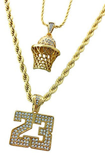 Men Gold Two Piece Basketball Box 23 Set Pendant Hip Hop Rope Chain