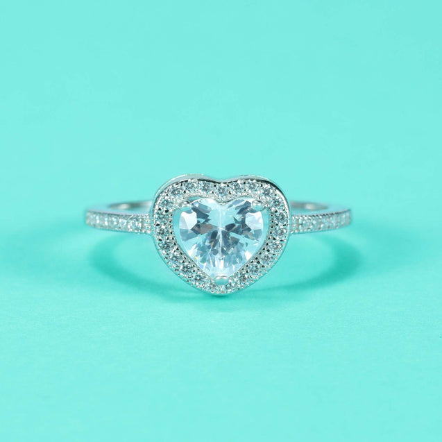 Sterling Silver Princess Cubic Zircon Heart Eternity Engagement Ring