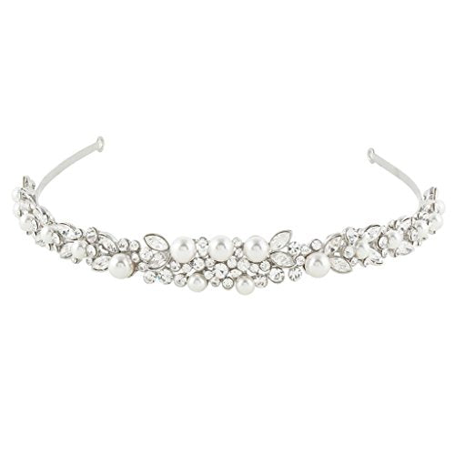 Silver-Tone Austrian Crystal Ivory Color Simulated Pearl Wedding Hair Headband Clear - InnovatoDesign