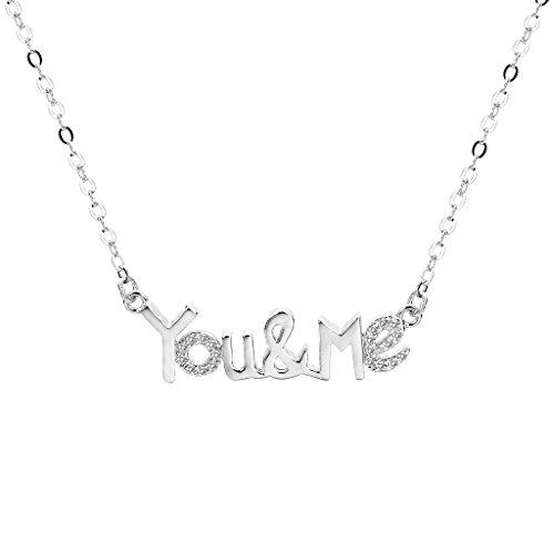 "925 Sterling Silver Cubic Zirconia Bling ""You & Me"" Letter Pendant Necklace"