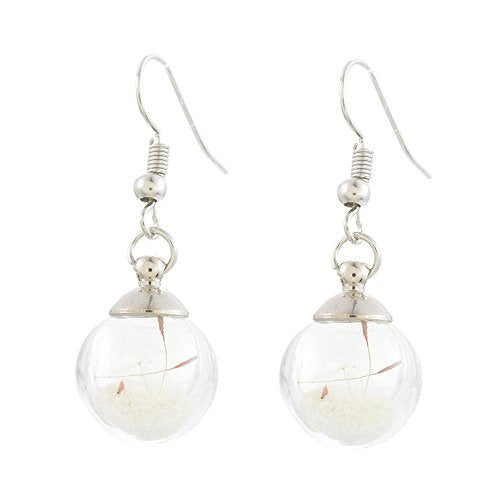 Women Blue Glass Ball Design Earrings with Dandelion Plant Dried Flower Ear Studs 4cmx1.4cm - InnovatoDesign