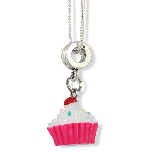 Cupcake (White and Pink Enamel) Charm Snake Chain Necklace