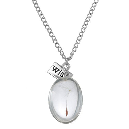 Silver Color Real Dandelion Seed Oval Glass Pendant Necklace - InnovatoDesign