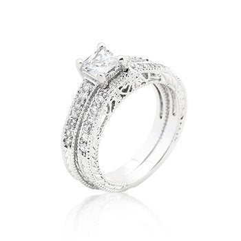 Princess Cut Filigree Bridal Ring Set - InnovatoDesign