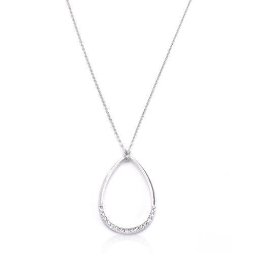 Silvertone Crystal Teardrop Necklace - InnovatoDesign
