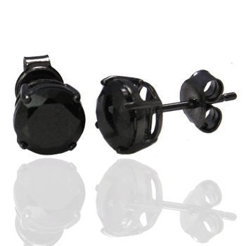 Pair of 4mm Stainless Steel Black Crystal CZ Stone Round Studs Men Earrings - InnovatoDesign