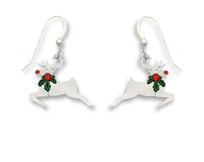 Holiday Christmas Reindeer Sterling Silver Earrings Perfect Gift - InnovatoDesign