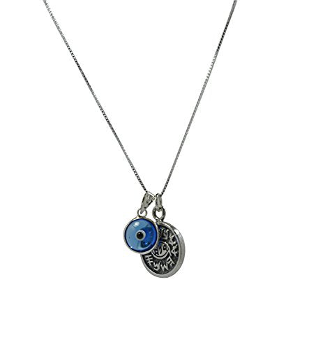 Seal Sterling and Evil Eye Charm Solomon Silver Necklace