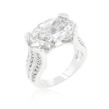 Oval Triplet Cubic Zirconia Ring - InnovatoDesign