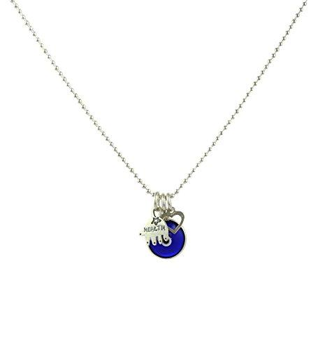 Blue Evil Eye Necklace with Hamsa & Silver Heart Charm