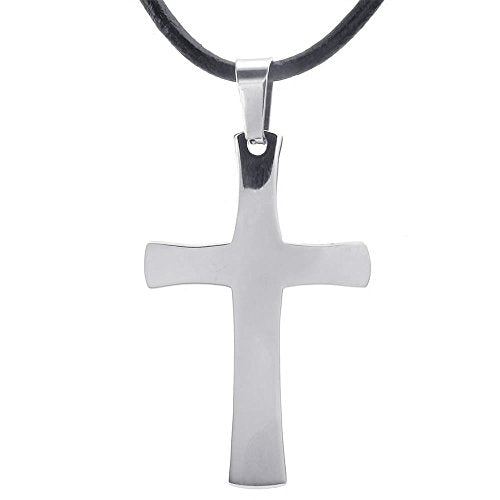 Stainless Steel Men Women Cross Pendant Necklace, 22 inch Leather Cord Chain, Silver