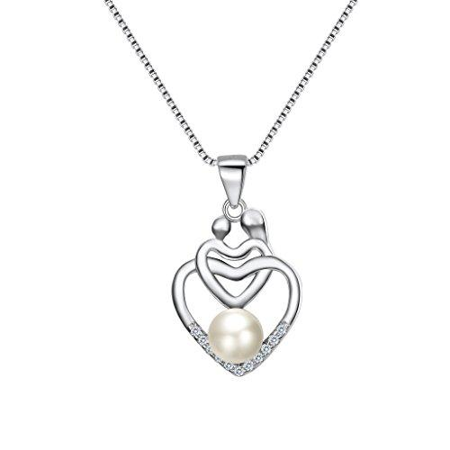 925 Sterling Silver CZ Freshwater Cultured Pearl Mother's Gifts Mom and Child Open Heart Pendant Necklace Clear
