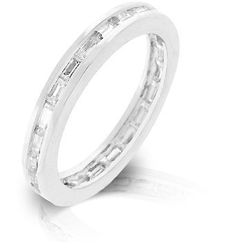 Silvertone White Eternity Ring - InnovatoDesign