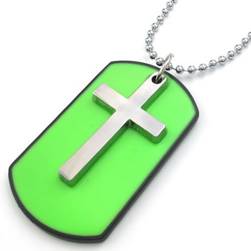Men Women Army Style Cross Dog Tag Pendant Necklace, 27 inch Chain, Green Silver - InnovatoDesign