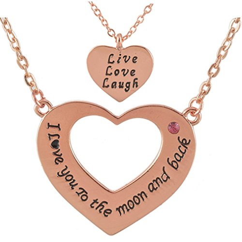 Rose Gold Two-Piece Heart Carved Necklace