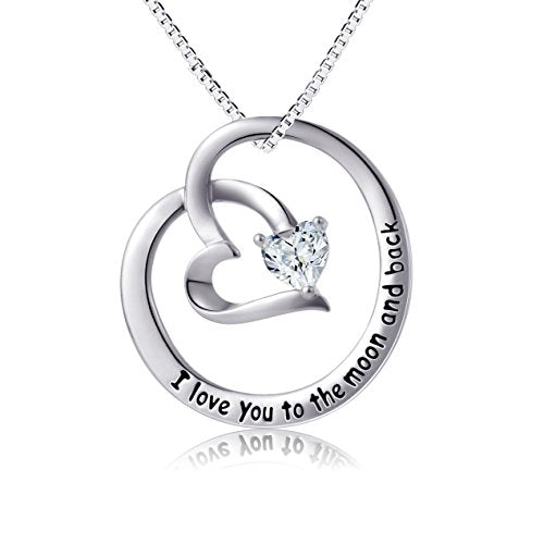 Love Actually Sterling Silver ''I love You to the Moon and Back'' Heart Pendant Necklace for Women - InnovatoDesign