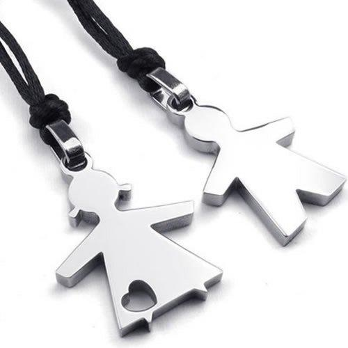 2pcs Men Women Couples Stainless Steel Boy Girl Pendant Love Necklace Set, Silver