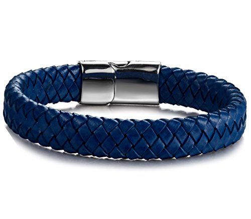Stainless Steel Magnetic Clasp Braided Leather Bracelet for Men Cuff Bracelet 7.5-8.5 inches - InnovatoDesign