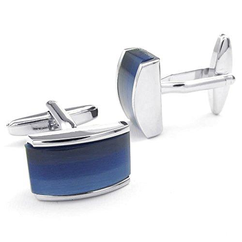 2pcs Rhodium Plated Men Classic Shirts Cufflinks, Wedding, Blue Black Silver, 1 Pair