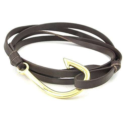 Men Women Leather Stainless Steel Bracelet, Fish Hook Anchor Wrap, Brown Gold - InnovatoDesign
