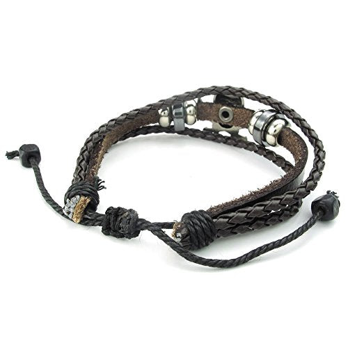 Men Women Leather Bracelet, Braided Gothic Pirate Skull Charm 7-9 inch Adjustable, Brown