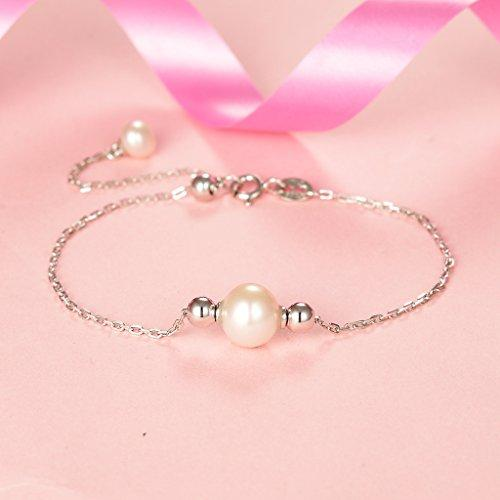 925 Sterling Silver AAA Freshwater Cultured Pearl Bead Simple Bracelet Adjustable Chain Clear