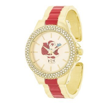 Red And Gold Metal Santa Cuff Crystal Metal Watch - InnovatoDesign