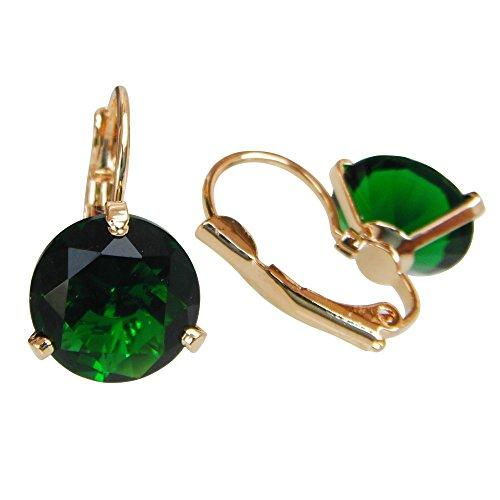 18k Gold Plated Crystal Green Zircon Round Az1427h Leverback Hoop Earrings