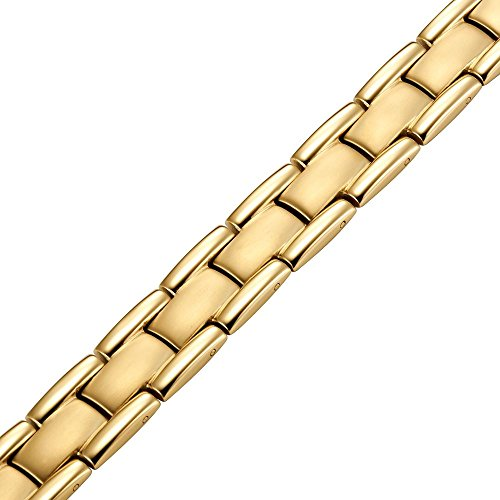 Titanium Magnetic Therapy Bracelet Gold Tone Size Adjusting Tool and Gift Box Included - InnovatoDesign