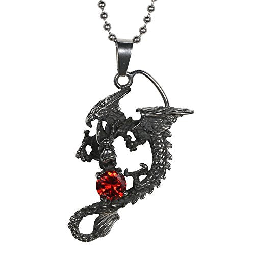 Punk Series Dragon Spit Synthetic Ruby Stainless Steel Men's Jewelry Pendants