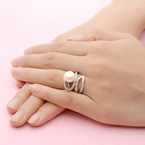 925 Sterling Silver CZ 10MM AAA Freshwater Cultured Pearl Leaf Cocktail Ring Clear
