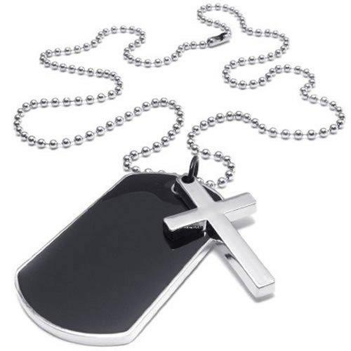 Army Style Dog Tag Cross Pendant Men Necklace, Color Black Silver, 27 inch Chain