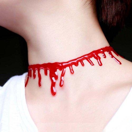 Halloween Horror Bloody Drip Cut Party Choker Creepy Necklace