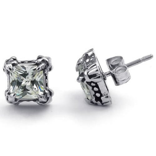 Men Cubic Zirconia Stainless Steel Gothic Dragon Claw Stud Earrings, White Silver - InnovatoDesign