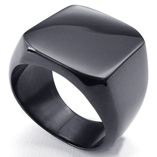 Men Biker Polished Stainless Steel Ring, Signet, Black