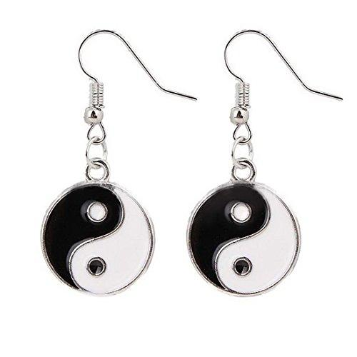 Black and White Enameled Disc Taoism Yin Yang Dangle Earrings Set